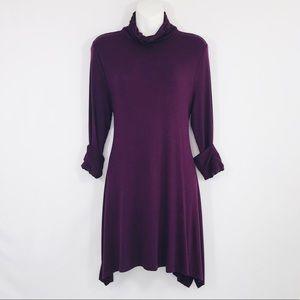 Soft Surroundings plum dress/tunic ruched neck